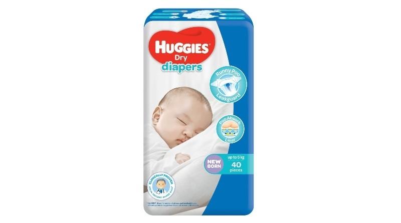 Huggies Dry Newborn 40 pcs x 2 packs (80 pcs)
