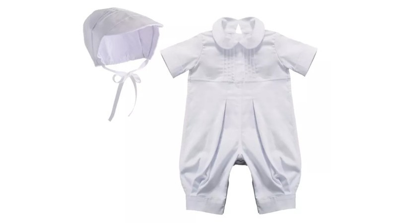 Christening Baptism White Longall with Hat Outfit