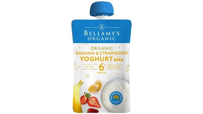 Bellamys Organic Banana & Strawberry Yoghurt with DHA 120g