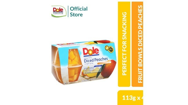 Dole Fruit Bowls Diced Peaches 4.3oz 4s